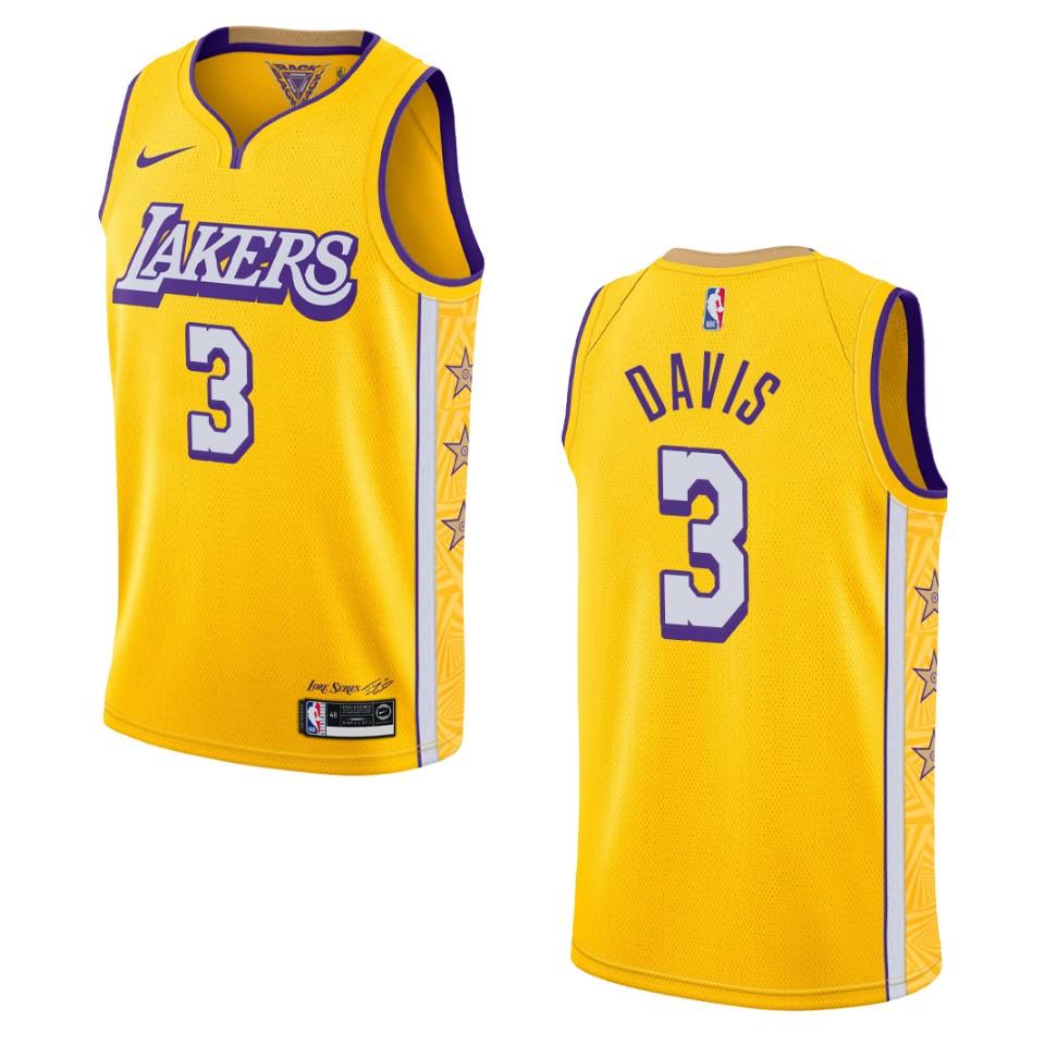 2019-20 Men's Los Angeles Lakers #3 Anthony Davis City Edition ...
