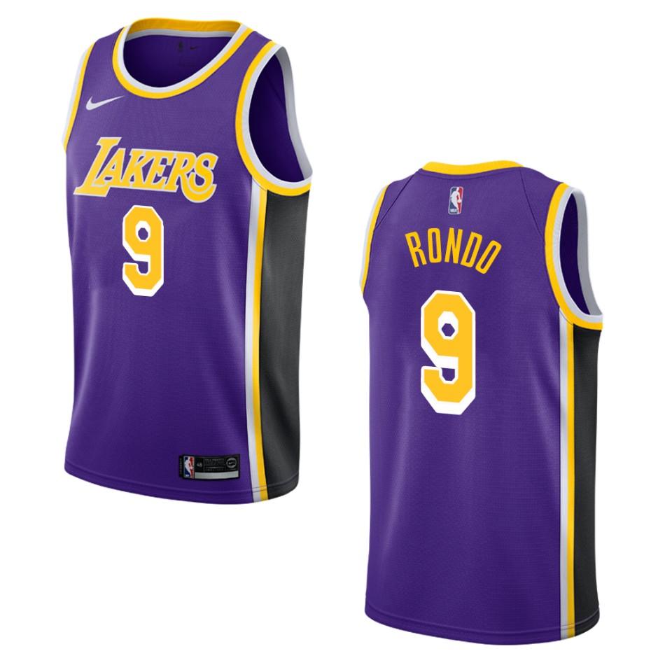 Men's Los Angeles Lakers #9 Rajon Rondo Statement Swingman Jersey ...