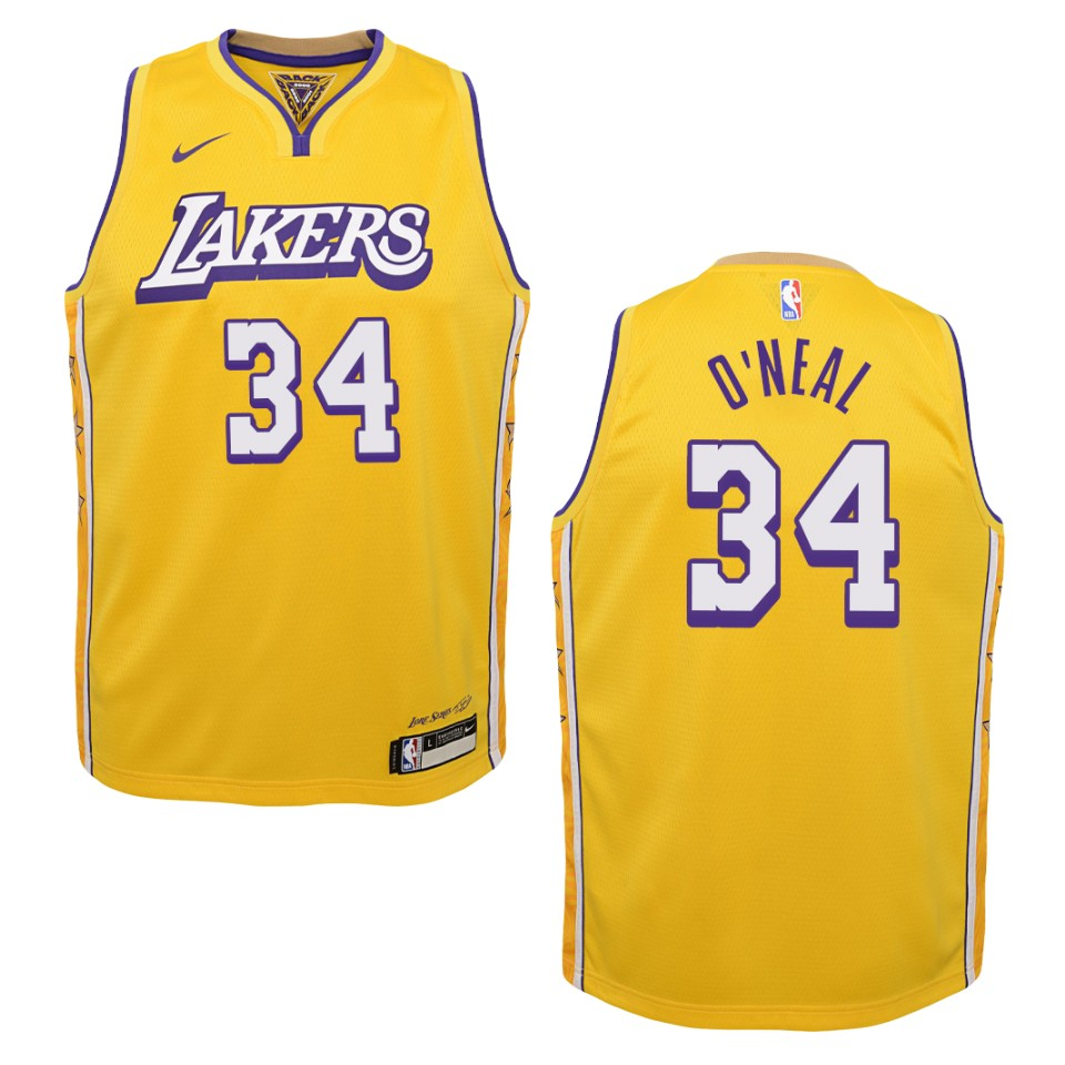 Youth 2019-20 Los Angeles Lakers #34 Shaquille O'Neal City ...