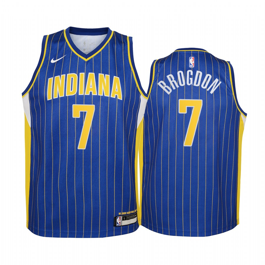 Indiana Pacers Malcolm Brogdon 2020-21 City Edition Blue Youth ...
